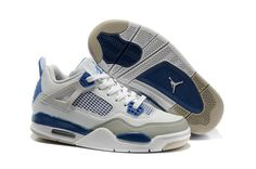 best authentic 77039 a6801 Women Air Jordan 4 White Military Blue