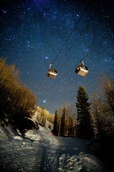 Ski lift at night and 1000 diamond stars - HOLY COW!