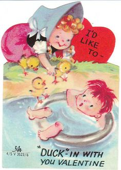 Vintage Valentine - little boy and girl at an old fashioned swimming hole