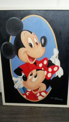 Mickey en Mini met olieverf.