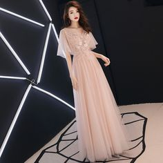 Pink lace tulle evening dress, v-neck ruffled sleeve fairy party prom dress online shopping