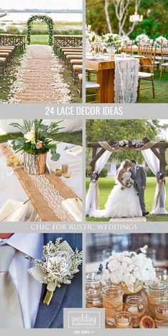 24 Chic Rustic Burlap Lace Wedding Decor Ideas The Common Way Is To Use This Fabrics Tied Around Mason Jars Or Bouquets But In Our Gallery Of