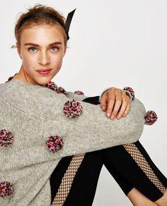 pom pom sweater Zara