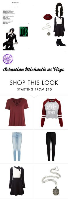 """""""Sebastian Michaelis as Virgo"""" by maddiehatter202 ❤ liked on Polyvore featuring Topshop, WithChic, Sebastian Professional, Valentino, Hot Topic, Ciel and Lime Crime"""