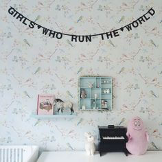In the girls' room by the talented Mille Maria, Copenhagen, Denmark. Pip Studio wallpaper. Toy piano. Girls Who Run the World banner.