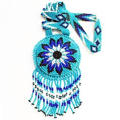 Vintage Native American Blue Seed Beaded Fringed XL