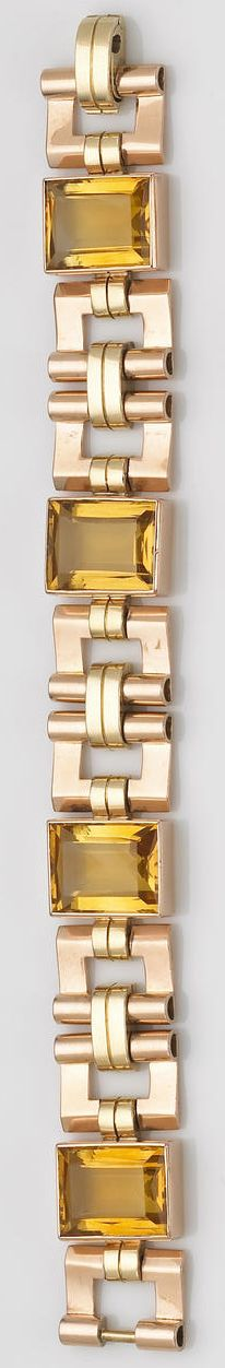 A retro citrine and bicolor fourteen karat gold bracelet, Cartier, circa 1940  designed with four rectangular-cut citrines with openwork yellow and rose gold geometric links; signed Cartier; length: 7in; gross weight approximately: 82.5 grams.