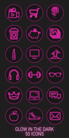 neon highlight pink icons story