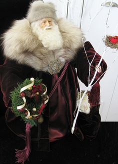 CUSTOM ORDER Father Christmas Doll Burgundy by FatherChristmasJoy,      $ 325.00