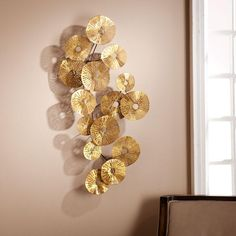 Aura Abstract Wall Sculpture - Southern Enterprises static walls will beg for this dynamic, multi-textured wall sculpture. Hammered gold circles dance along a delicate metal spindle, as dainty flowers opening end to end upon a trembling tree br Modern Wall Sculptures, Metal Wall Sculpture, Sculpture Art, Luxury Home Accessories, Wall Accessories, Wal Art, Deco Originale, Creation Deco, Wall Installation