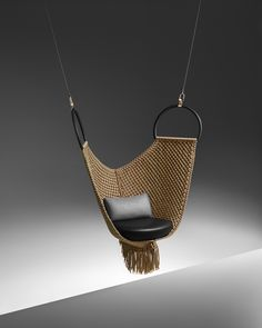 """Louis Vuitton Launches Its Latest """"Objets Nomades"""" Furniture Collection Louis Vuitton Nomadic Objects Hanging Chair Hammock Swing, Hammock Chair, Swinging Chair, Hammocks, Swing Chairs, Indoor Swing, Bar Furniture, Unique Furniture, Hanging Furniture"""