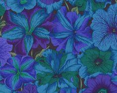 "Patchworkstoff \""Petunias\"", Blütenmeer mit Petunien, blau-türkisgrün"