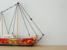 Red wooden sailboat reclaimed beehive wood by ArktosCollectibles, $48.00