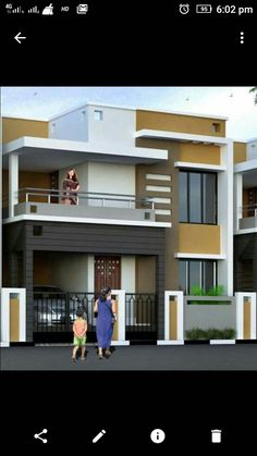 ELEVATION of a 3 story building with Stilt parking Interior Design on