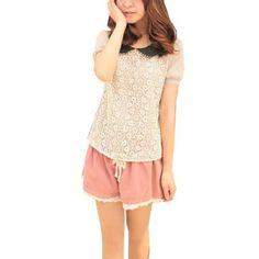 Allegra K Ladies Peter Pan Collar Short Sleeve Embroided Front Blouse Pale Pink XS Allegra K. $11.15