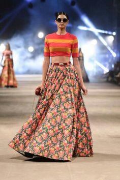 Sabyasachi..the burgundy belt, the awsome top & floral skirt