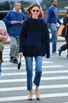 Indigo knit outfit coordinate style denim blue sweater tops デニムニット インディゴニットトップス コーデ 着こなし
