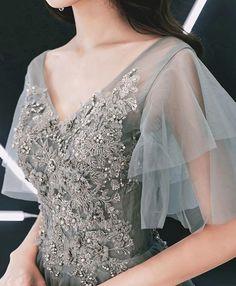 Gray v neck Cap sleeve tulle lace long prom dress, evening dress Deb Dresses, Nice Dresses, Prom Dresses, Dresses With Sleeves, Dress Prom, Tulle Gown, Tulle Lace, Evening Outfits, Evening Dresses