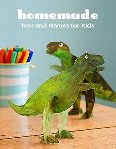 Stand-up Dinosaur Toys Show four-legged dinosaurs who's boss with this cleverly designed bipedal model. Download our template below, trace the shapes on cereal box cardboard, and cut them out. Paint both sides of the pieces and let them dry, then slot them together. Download free template