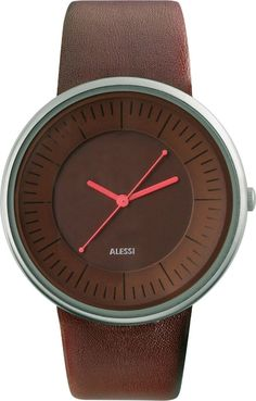 Alessi Unisex Luna Stainless Watch - Brown Leather Strap - Brown Dial - AL8007
