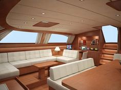 Interiors Of Luxury Yachts | The Baltic 112 Sailing Yacht Nilaya Saloon Interior  Design Rendering Luxury