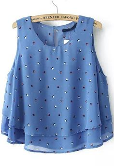 Blue Sleeveless Polka Dot Double Layers Vest 14.50