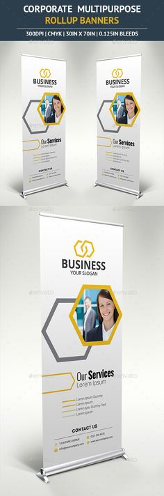 Buy Corporate Rollup Banner by ilibart on GraphicRiver. Attract people to your business with this beautiful Multipurpose Outdoor Banner Signage suitable for any business! Rollup Banner, Banner Template, Signage Design, Brochure Design, Web Banner Design, Web Design, Graphic Design, Standee Design, Digital Signage Displays