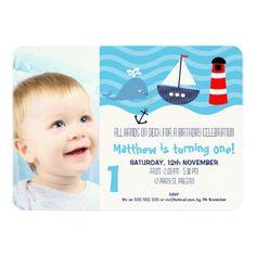 Boys Nautical 1st Birthday Party Invitation