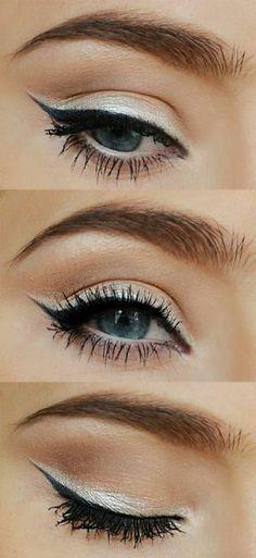 eye make-up - nice tips and . - eye makeup tips black eyer liner silver eyeshadow -Subtle eye make-up - nice tips and . - eye makeup tips black eyer liner silver eyeshadow - Silver Eyeshadow Subtle Eye Makeup, Blue Eye Makeup, Eye Makeup Tips, Simple Makeup, Skin Makeup, Makeup Ideas, Makeup Trends, Makeup Tips And Tricks, White Makeup