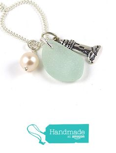 3/4 inch Seafoam Blue Sea Glass, Sterling Silver Lighthouse Charm and Freshwater Pearl Pendant Necklace. This is a one-of-a-kind necklace! OOAK - Repurposed - Upcycled - Unique - Handcrafted. from The Strandline http://www.amazon.com/dp/B01787LSNA/ref=hnd_sw_r_pi_dp_aeMpwb13TXTGZ #handmadeatamazon