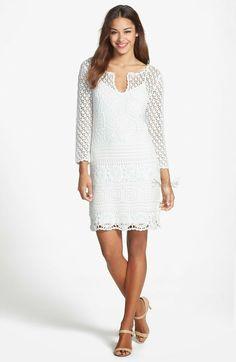 Trina Turk 'Lanai' Crochet Lace Dress available at Diy Crochet Dress, Crochet Party Dresses, Crochet Short Dresses, Crochet Wool, Crochet Shirt, Cotton Crochet, Crochet Clothes, Knit Dress, Vestidos Fashion