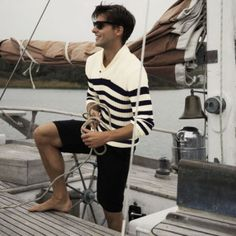 Mens Black and White sweater. yeah my jaw just dropped. Stripes.Short shorts. A sail boat...