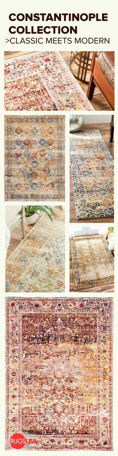 Design inspiration with Rugs USA's Constantinople collection where classic meets modern! Visit RugsUSA.com for variety and amazing savings of up to 80% off!