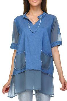 d8180ae71b4695 Selfie Couture Denim & Chiffon Top - Main Image Denim Top, Denim Shirt,  Chiffon