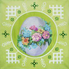Latvian folk symbols with easter theme. Acrylic on canvas. 40x40cm.
