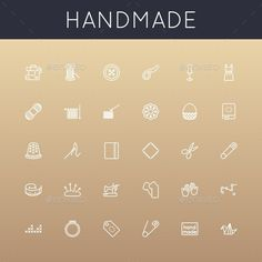 Handmade Line Icons (Vector EPS, AI Illustrator, CS, accessory, atelier, basket, bead, beading, embroidery, flat, handiwork, handmade, hobby, icon, icons, knitting, line, mannequin, manual, needle, needlework, origami, outline, patchwork, pin, scissors, set, sewing, silhouette, symbol, tailor, thimble, vector) Label Design, Icon Design, Logo Design, Graphic Design, Fabric Factory, Visual Communication Design, Illustrator Cs5, Stamp Carving, Information Graphics
