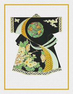 SALE Asian Japanese Gold Black Green Kimono Counted Cross Stitch Chart by OrencoOriginals