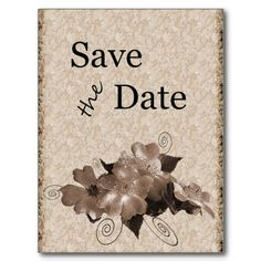 Vintage Sepia Roses Save the Date Postcard. $1.03