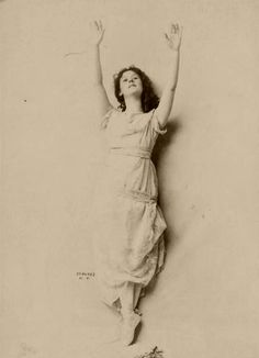 """Isadora Duncan photographed by Jacob Schloss, 1899. """"'Nature' was Duncan's metaphorical shorthand for a loose package of aesthetic and social ideals: nudity, childhood, the idyllic past, flowing lines, health, nobility, ease, freedom, simplicity, order, and harmony. Through a series of correspondences, she elided 'Nature' with science, religion, the Greeks, and finally, [western] Culture."""""""