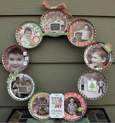 Christmas Photo Wreath using mason jar lids Jar Lid Crafts, Mason Jar Crafts, Diy Crafts, Homemade Christmas, Christmas Wreaths, Christmas Crafts, Diy Holiday Gifts, Holiday Crafts, Holiday Ideas