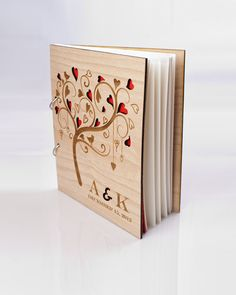 Custom Wood Wedding Guest Book, Wedding Present, Anniversary Gift, Bride and Groom, Bridal Shower Book, Wedding Photo Album on Etsy, $44.00