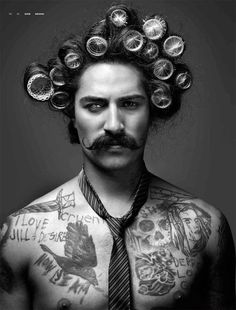 Man in curlers Moustache...but does anyone sees his right eye....bad ass photo