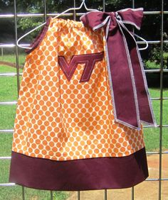 Virginia Tech Pillowcase dress Orange and Maroon by easyedges