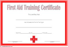 The First Aid Certificate Template FREE 1 for Training Completion. Fire Safety Certificate, Training Certificate, Certificate Templates, First Aid, Words, Free, Ideas, First Aid Kid, Horse