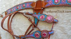 pink and turquoise tack | Painted Tack, Barrel Horse Tack, Custom Painted Tack
