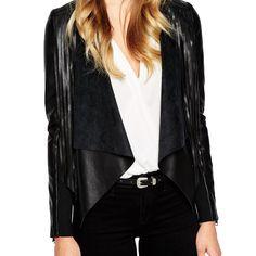 Осень зима искусственной кожи женщины куртка 2015 мода бренда короткие кисточкой пальто в шею длинными рукавами верхняя одежда Большой размеркупить в магазине Five Star Outlet наAliExpress