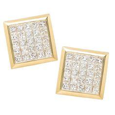 Invisible Set Princess Cut Diamond Gold Cufflinks   See more rare vintage Cufflinks at https://www.1stdibs.com/jewelry/cufflinks/cufflinks