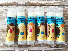 This listing is for 6 Surfer custom Lip Balm Favors . +++See the and photos above for a view of all of the designs+++ +++This item can be personalized with t. Cocoa Butter, Shea Butter, Surfer Party, Beach Party Favors, Lip Balm Ingredients, Hawaiian Theme, Natural Lip Balm, Party Themes, The Balm