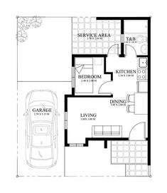 Small home design plan with One Bedrooms description:One Car Parking and gardenGround Level: Living room, One Bedroom, Dining room Design Your Own Home, Small House Design, Home Design Plans, Philippine Houses, House Of Beauty, Bedroom Images, Design Case, Tiny Living, One Bedroom