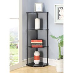 Corner Shelves with Black Finish. Contemporary Glass Storage Unit with 4 Shelves for Decor Display. Glass Bookshelf for Book Storage. Storage Unit with 4 Tempered Glass Tiers. Glass Corner Shelves, Glass Bookcase, Floating Glass Shelves, Glass Shelves Kitchen, Tempered Glass Shelves, Corner Shelf, Corner Unit, Kitchen Cabinets, China Cabinets